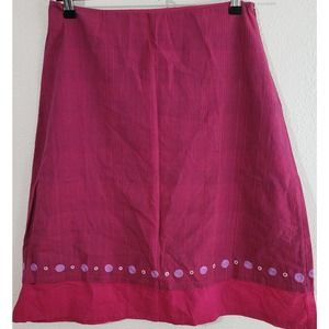 Fabindia Red Striped Embroidered Hem Skirt